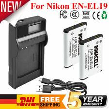 2× EN-EL19 ENEL19 AKKU + USB LCD Ladegerät für Nikon Coolpix S2500 S6600 S6800