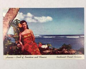 Vintage Unused 1950s Northwest Orient Airlines Postcard Hawaii Sunshine Flowers