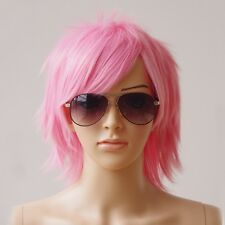 Mens Women Layer Short Straight Wigs Cool Anime Cosplay Party Heat Resistant Wig