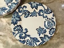 Cobalt Blue Abstract Salad Plates. Set Of 4. Rustico, Durable Melamine. New.