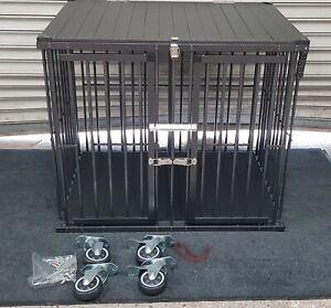 2 XLarge Door Black Aluminium Dog Show Trolley / Dog Cage Large