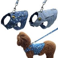 Pet Dog Soft Harness Denim Walk Collar Puppy Cat Dog Safety Strap Vest Leash set