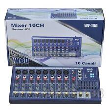 MIXER AUDIO PROFESSIONALE 10 CH. + USB ED EFFETTI DJ KARAOKE PIANOBAR canto dj