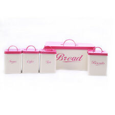 X004 Metal Pink Square Bread Bin/Box Food Storage Container Tin Canister Set NEW