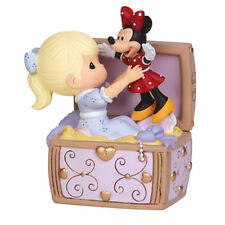 ♫ New PRECIOUS MOMENTS DISNEY Musical Figurine GIRL MINNIE MOUSE Music Box CHEST