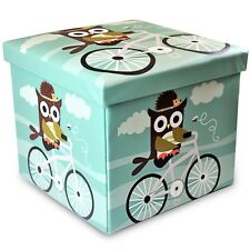Stuff n sit Kids Toy Storage Ottoman Folding trunk toy chest for kids Owl Rland