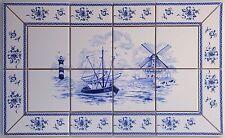Kacheln, Fliesen Delfter Art , Bild blau/ weiß mit antikem Fliesen Rand, 10x10