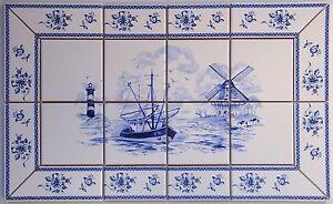Kacheln, Fliesen Delfter Art, Bild blau/weiß mit antikem Fliesen Rand