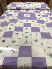 Violet Floral Purple & White Quilt Lovely Hand Knotted Cotton