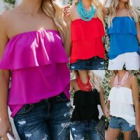 Womens Ruffle Frill Strapless Loose Blouse T Shirt Ladies Bardot Summer Tops
