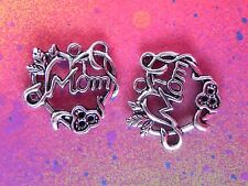 15 Mom Heart Charms Vine Flowers Charm Tibetan Silver Charms for Jewelry Making
