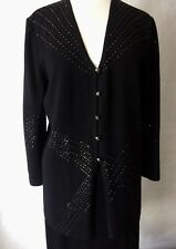 st john Evening Size 10 Black Santana Knit Embellished Skirt Suit