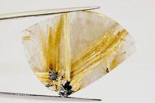 GemsVillage 47,33 Ct. HUGE DEFINED FLOWER OF GOLDEN RUTILE ON BRAZILIAN QUARTZ