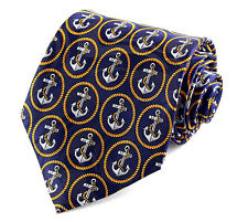 Anchor Ovals Mens Neck Tie Ship Boat Rope Military Nautical Navy Blue Necktie