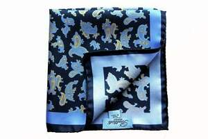 Battisti Pocket Square Navy with sky/yellow paisley, pure silk