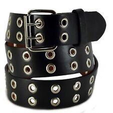 Men Women 2 Hole Silver Grommet Leather Belt BLACK S / M / L / XL / 2XL/ 3XL/4XL
