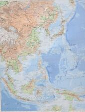 1958 LARGE MAP CHINA & WEST PACIFIC BURMA THAILAND CAMBODIA MALAYA SINGAPORE