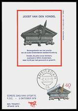 NL MK 1979 VONDEL DICHTER WRITER POET CARTE MAXIMUM CARD MC CM bd72
