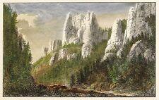 Sächsische SCHWEIZ-Ferdinand Stone-BATTY-kolorierter Steel Engraving 1829