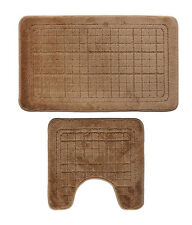 Bathroom 2 Pieces Bath Rug Toilet Pedestal Mat Set Contour bath Mat