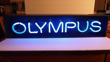 RARE VINTAGE RETRO 1980S OLYMPUS FILM PHOTOGRAPHY CAMERA STORE BLUE NEON LAMP