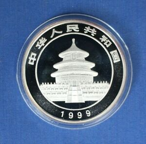 1999 China 1oz Large Date Silver Panda 10 Yuan coin in Capsule with COA