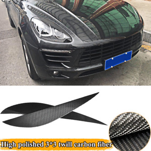 Full Carbon Fiber HeadLight Eyelid Eyebrows Fit for Porsche Macan 2014-2018 2PCS