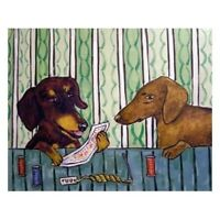 DACHSHUND needlepoint dog 8x10  art PRINT dog animals impressionism