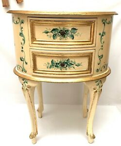 Italian Florentine Nightstand End Table Chest of Drawers Gold Gilt 27""