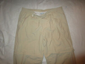 COLUMBIA PFG MEN'S FISHING SHORTS PANTS CONVERTIBLE BEIGE XXL 2XL USED NYLON