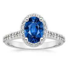2.65 Carat Oval Real Diamond Blue Sapphire Ring Gemstone 14K White Gold Size M V