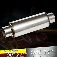 "2.25'' INLET / OUTLET -10"" Body Turbine Muffler Stainless Steel Straight Through"
