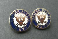 USN Navy Small Collar Lapel or Tie Pin Badge 1/2 inch Set of 2