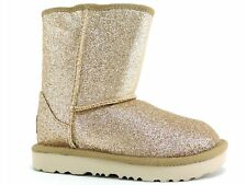 UGG Toddler Classic Short II Boots Glitter Gold Water Resistant Size 8 M