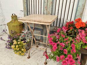 Vintage Rectangle Rustic Metal Iron Folding Bistro Cafe Restaurant Garden Table