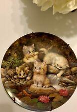 """The Bradford Exchange Kitten German """"Am Seerosenteich� Collectible Plate 1996"""