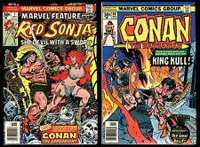 Marvel Feature 7 Red Sonja vs Conan the Barbarian 68 vs King Kull Comic Set Lot