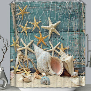 Bathroom Blue Conch Starfish Beach Print Mildew-proof Waterproof Shower Curt Hj