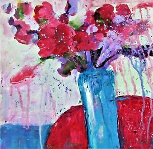 Original Acrylic Painting Red Flowers in a Blue Vase on Paper Still Life Art