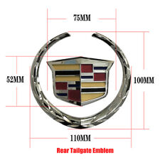 Rear Tailgate 4In Emblem Silver Crest Wreath Badge Fit 07-13 Cadillac Escalade