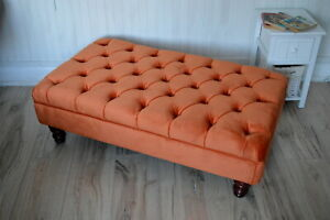 Chesterfield Deep Button Footstool in Plush Bright Orange Fabric