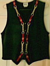 Vtg Leslie Fay women's black knit vest with western trim sz L equestrian style