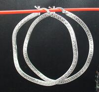 """2 1/4"""" Large Wavy Reversible Round Greek Key Hoop Earrings Real Sterling Silver"""