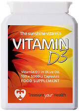 Vitamin D3 (in Olive Oil for Enhanced Absorption), 180 x 1-a-Day 5000iu Capsules
