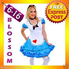 J61 Alice in Wonderland Ladies Disney Fancy Dress Up Halloween Costume Outfit