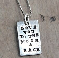 SILVER LOVE YOU TO THE MOON & BACK NECKLACE UNIQUE HAND MADE PERSONALISED