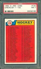 1983 OPC O PEE CHEE HOCKEY #134 CHECKLIST UNMARKED 1-132 Graded PSA 7 NM-MINT