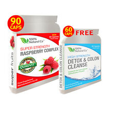 Raspberry Ketones Max Diet Pills, Super Strength, 90 Capsules PLUS FREE Detox