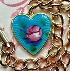 Vintage Sarah Coventry Signed Bracelet Guilloche Enamel Heart Charm Blue #1456