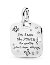 💎🎀 STERLING SILVER 925 FEMALE EMPOWERMENT MOTTO CHARM & POUCH POWER